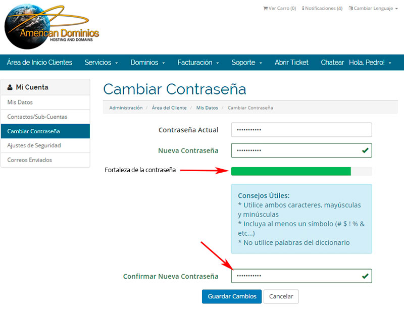 Cambiar password en WHMCS